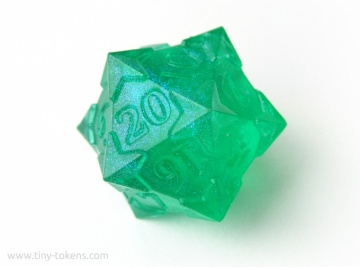 Starry D20 - Green (Blue/Purple Shimmer), Numerically Balanced